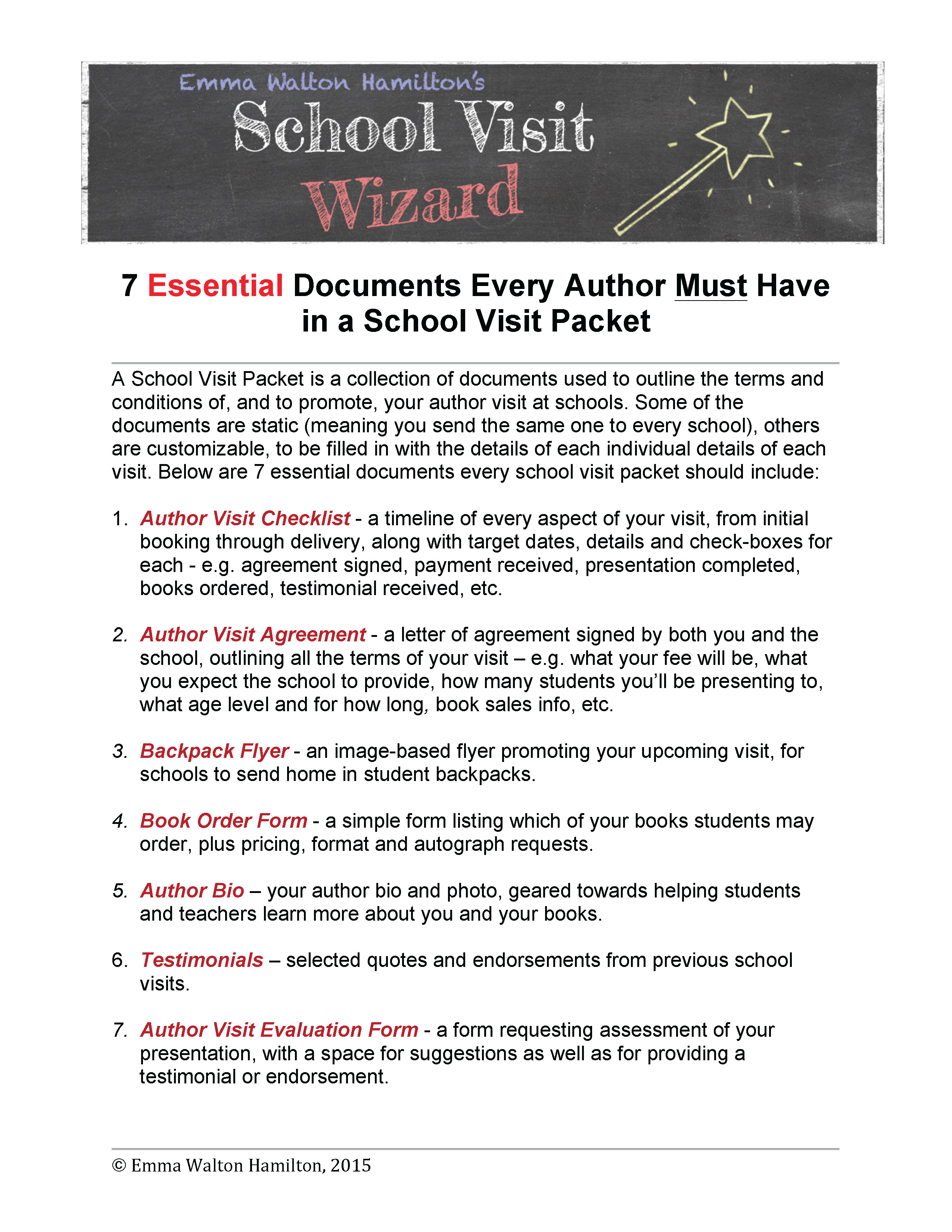 7 Essential Documents Every Author Must Have in a School Visit Packet